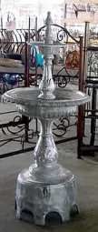 2 Tier Plain Fountain with Arches and Round Bowls