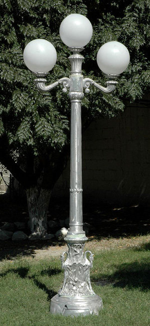 """Victorian Lamp with Swan Base, 2 Arm 3 Light-H.7'10"""""""