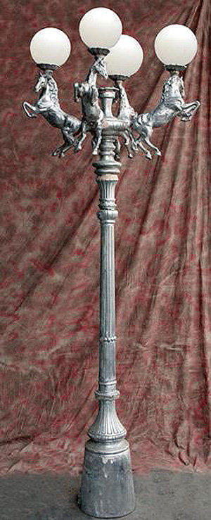 Stallion Lamp, 4 Arm 5 Light-H.9'5""