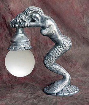 """Mermaid Fence Light Projection:7""""-H.39""""L.17.5"""""""