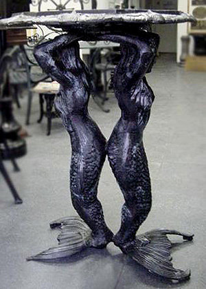 "Double Mermaid Birdbath-H.45""W.30"""
