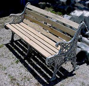 San Francisco Bench w/Middle Support & Oak Looking Alum. Slats