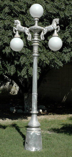 "Horse Lamp, 2 Arm 3 Light-H.9'5"""