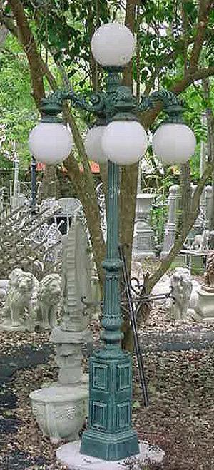 English Balboa Lamp, 4 Arm 5 Light Down-H.8'
