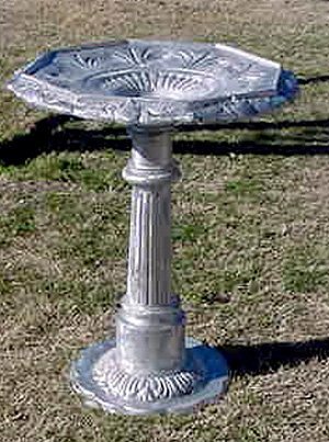 Birdbath,  Hexagonal Bowl, NS Walkway Base, Round Foot