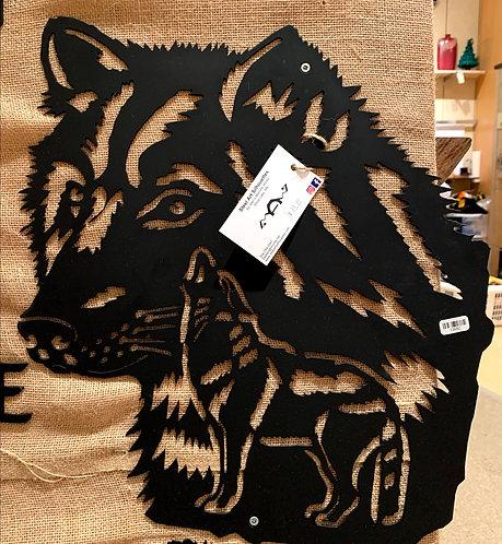 Steel Art Silhouettes Wolf Head- Inset Black