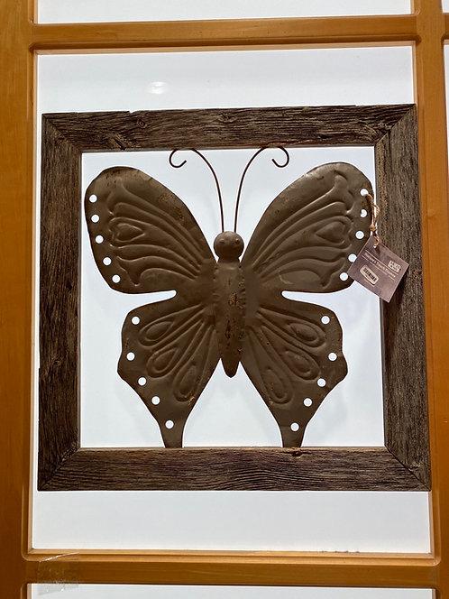 Nature's Touch Frames SK37 Barnwood Framed Butterfly grey