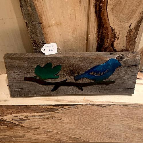 Iron Age Welding Songbird on wood