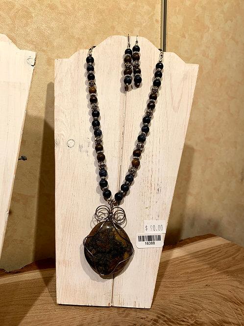 Obsidian&Jasper Necklace 2pce set