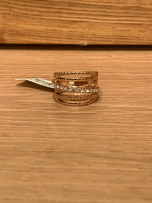 Caracol gold wide crystal ring