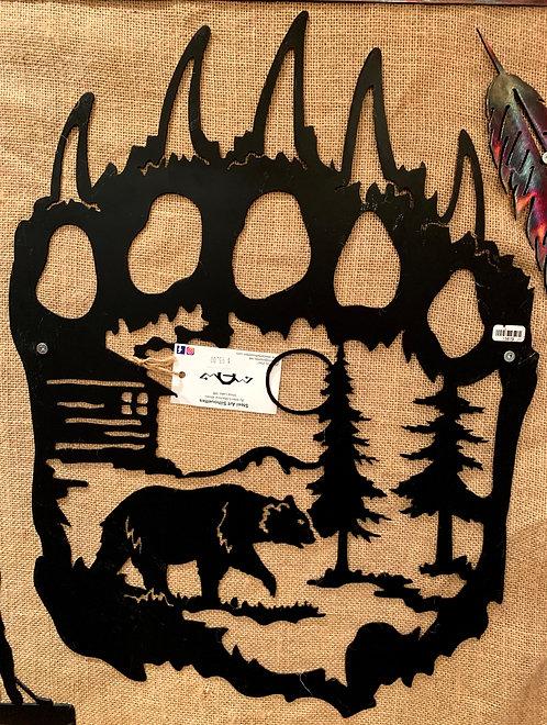 Steel Art Silhouettes Bear Paw Scene/Inset Black
