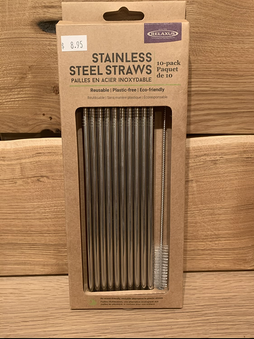 10 pc Metal Straw Kit