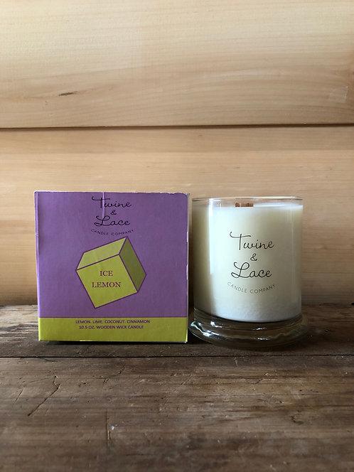 Twine & Lace Glass Candle Ice Lemon