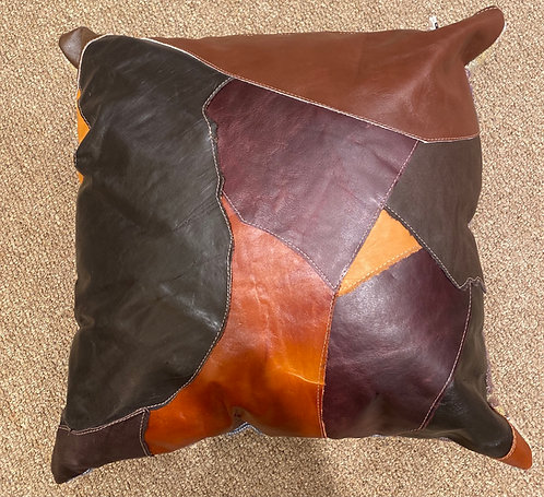 Lucy Designs Brown Leather Pillow