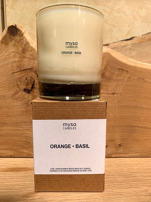 Orange Basil Glass Candle