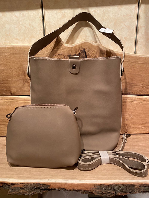 Caracol taupe suede tote
