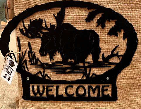 Steel Art Silhouettes Welcome Moose Swamp