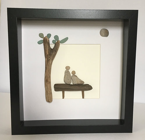 Pebble Art By Denise Couple On Bench With Tree
