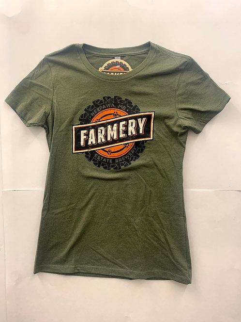Farmery Women's Army Green T-Shirt