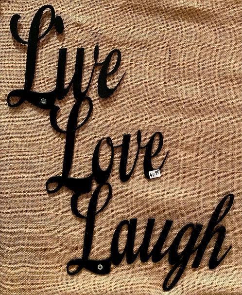 Steel Art Silhouettes Live Love Laugh Black