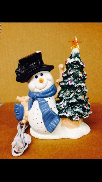 Snowman With Tree Light Up