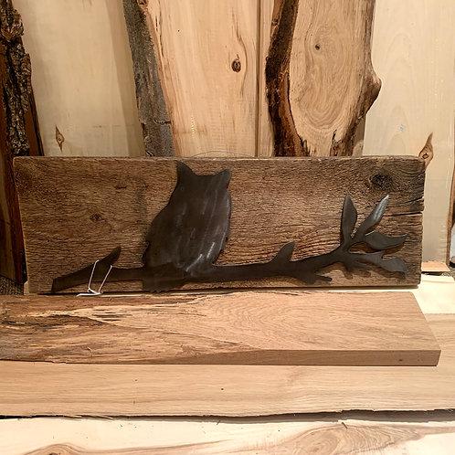Iron Age Welding Owl on Wood