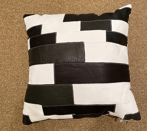 Lucy Designs Black & White Leather Pillow
