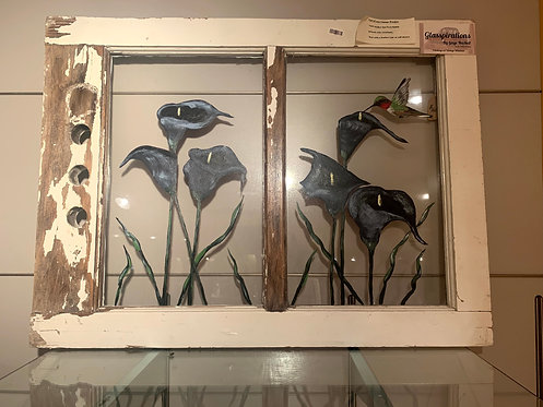 Vintage Window Painting Blue Calla Lilies and Humminbird