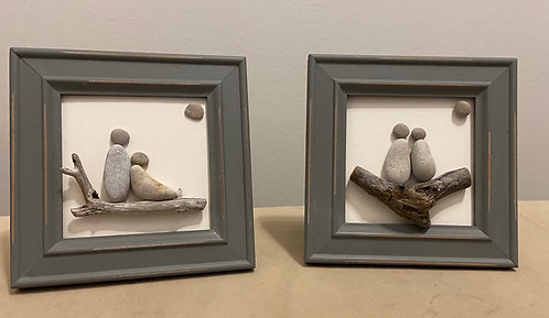 Pebble Art By Denise Couple in Green Grey Wood Frame