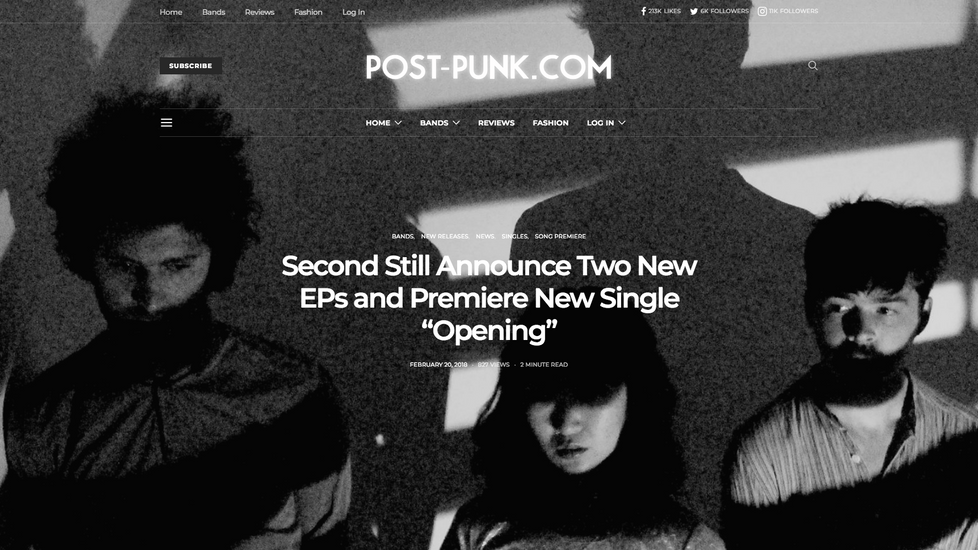 "SECOND STILLS PREMIERES ""OPENING"" POST-PUNK.COM"