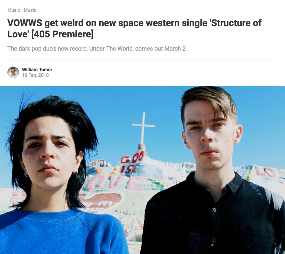 "THE 405 PREMIERES ""STRUCTURE OF LOVE"" BY VOWWS"