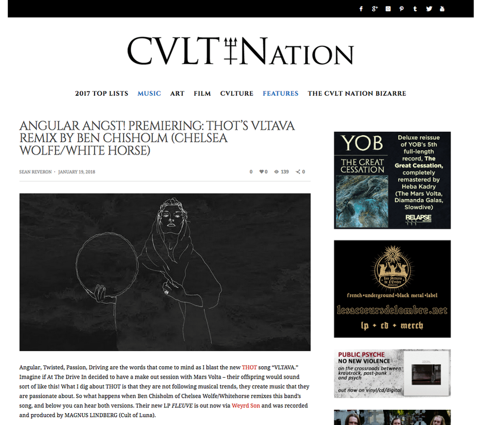 "CULT NATION PREMIERES THOT ""VLTAVA"" REMIX BY BEN CHISHOLM"