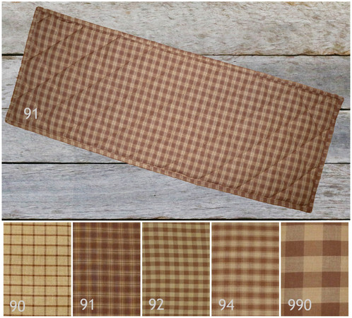 Quilted Table Runner Placemats / BROWN And TAN/ Rustic Cabin Decor /  Country Farmhouse Table Linens 24, 30, 36, 42, 48, 54, 60, 66, 72 Inch  Lengths