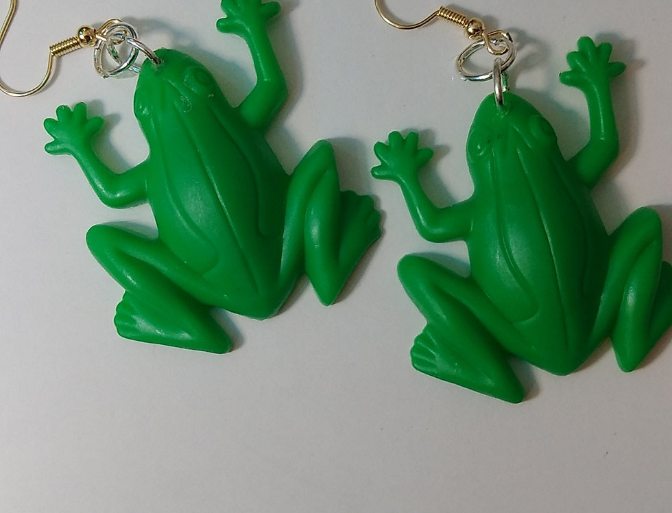 Plastic Frog Earrings