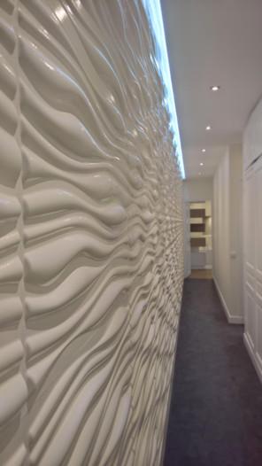 Couloir au mur 3D