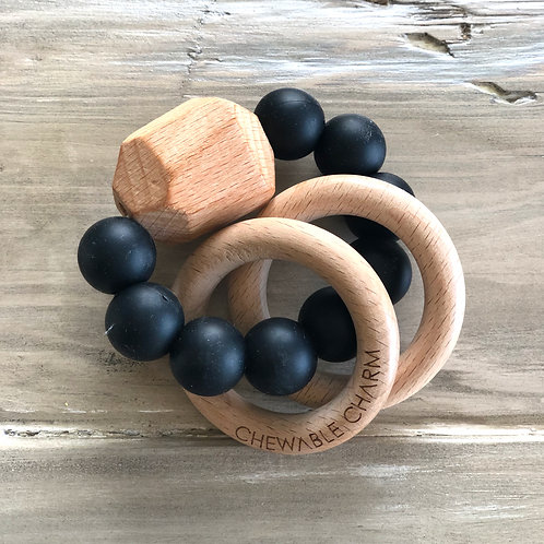 Hayes Silicone Wood Teether Ring (other colors available)