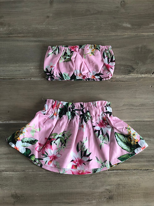 Island Fever Pink Bandeau & Skirt Set