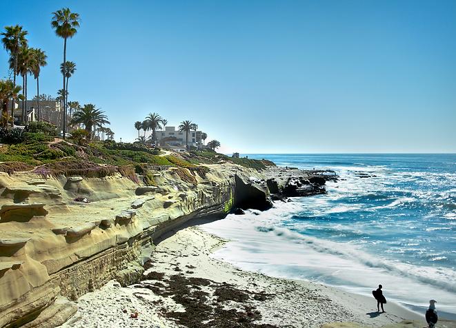 San Diego beach, ocean and surfers