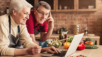 Ordering Food Online. Smiling elderly co
