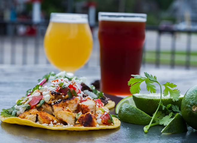Chicken taco and craft beer