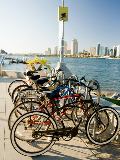 Bikes along San Diego Bay