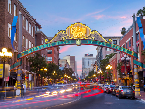 Gaslamp Quarter Arch at Night