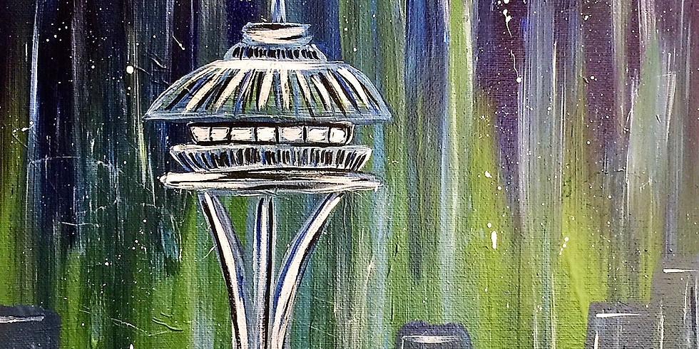 Seattle Skyline Inspired Sip n' Paint