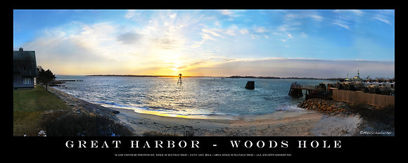 """Great Harbor- Woods Hole 20"""" Panorama Poster"""