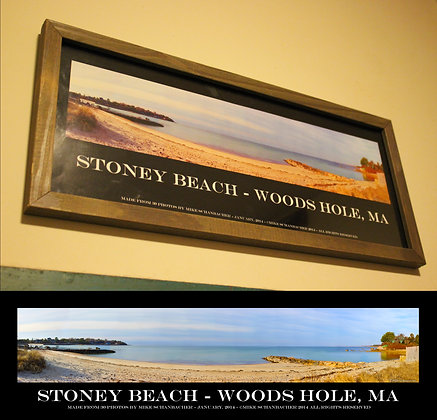 "Stoney Beach, Woods Hole 20X8"" Framed Panorama"