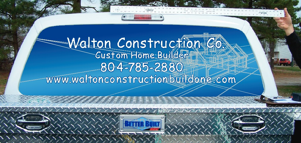 Walton Construction sign-truck