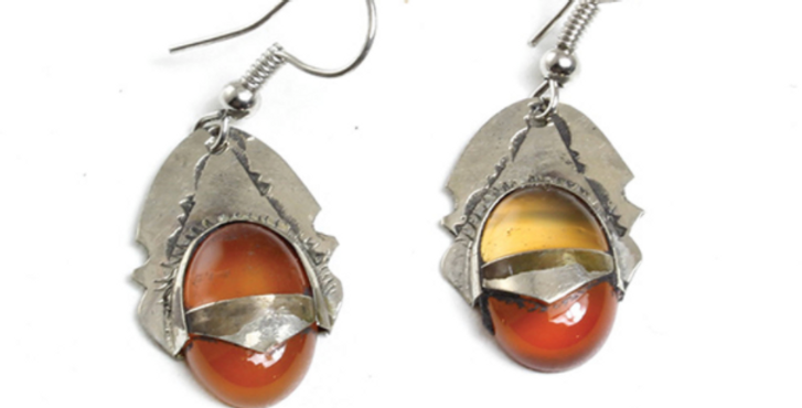 Tuareg Orange Gem Earrings