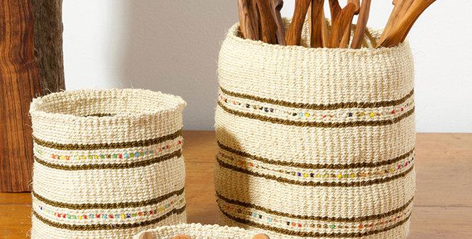 Vanilla Sisal Baskets w/ Colorful Beads
