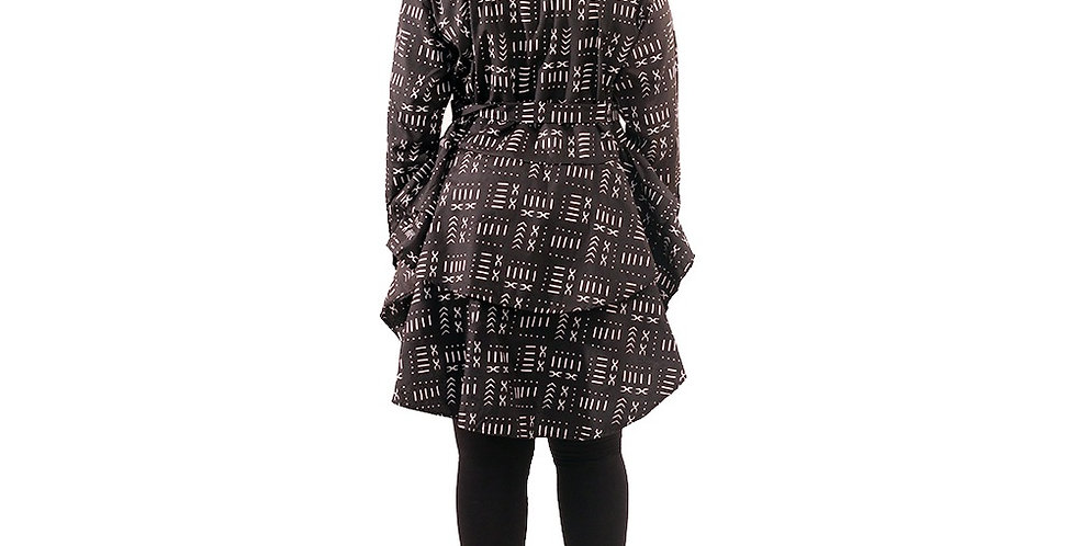 Black Mud Print Hi-Lo Peplum Top