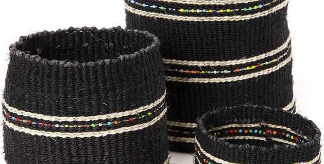 Licorice Sisal Baskets with Colorful Beads